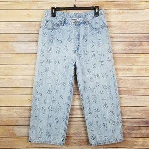Chico's Design Hieroglyphic Pattern Jeans Size 1.5